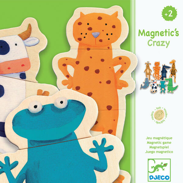 DJECO Mágneses képkirakó - Crazy - állatok