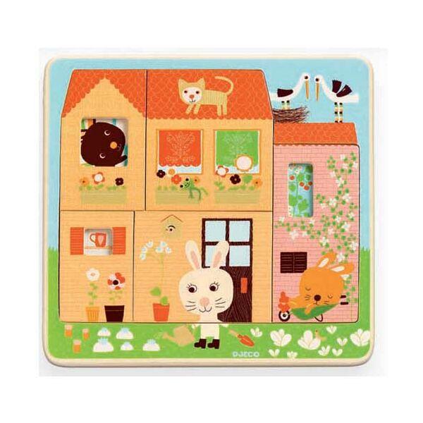 DJECO Háromrétegű puzzle - Nyusziház