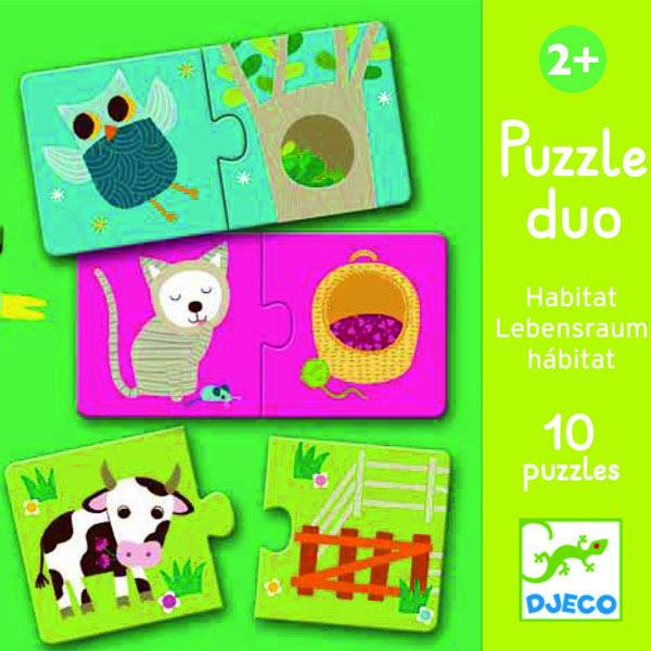 DJECO Duó Puzzle állatok - Ki hol lakik?