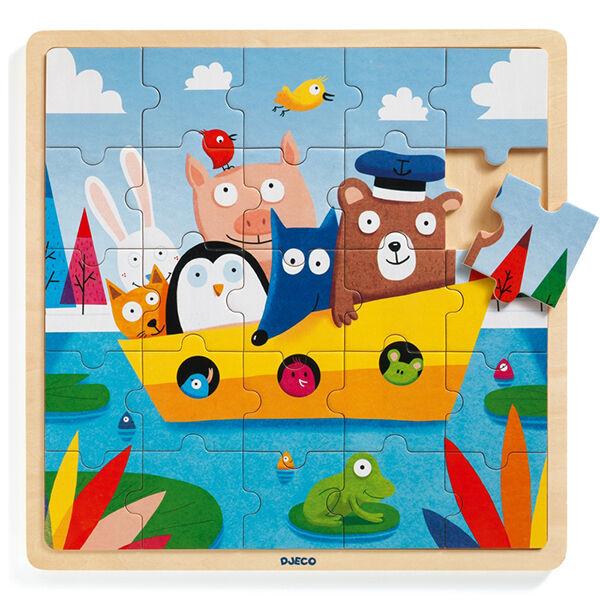 Fa kirakós játék-Djeco Happy Boat (25 darabos)